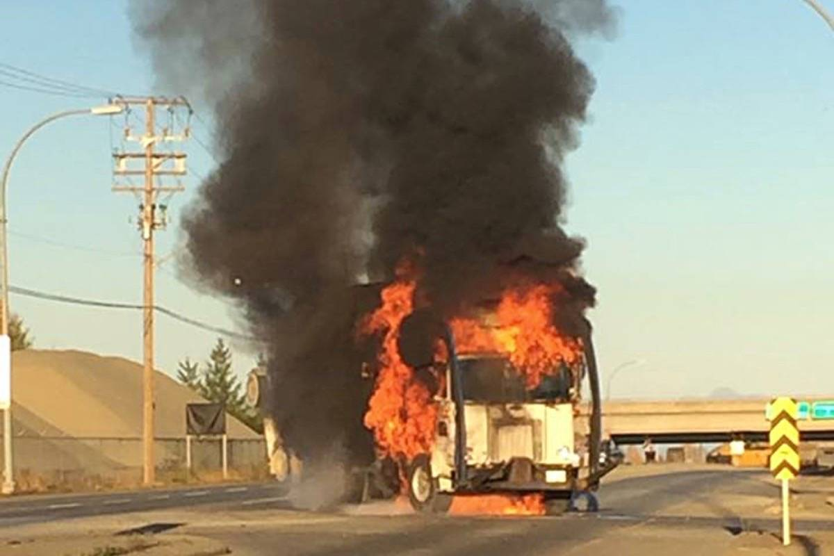 A dump truck went up in flames Monday afternoon near Cumberland. Photo by Chris Behrens
