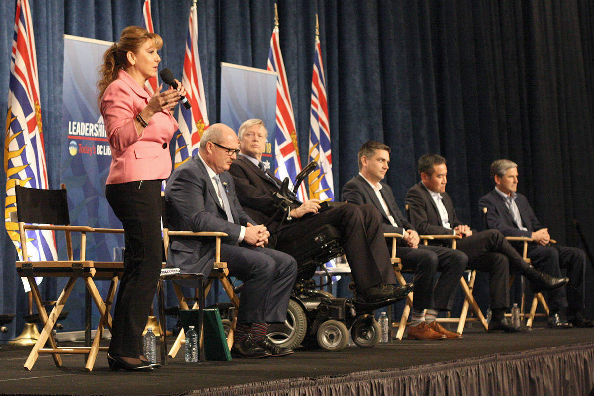 B.C. Liberal Party leadership candidates Dianne Watts, Mike de Jong, Sam Sullivan, Todd Stone, Michael Lee and Andrew Wilkinson attended a debate Sunday at the Vancouver Island Conference Centre in Nanaimo. (GREG SAKAKI/The News Bulletin)