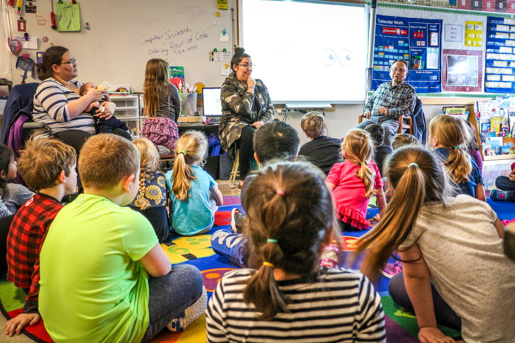 Kindergarten students learn about growing up in a Sm'algyax class at Lax Kxeen Elementary School with their teachers Kelli Clifton and Alex Campbell. (Shannon Lough / The Northern View)