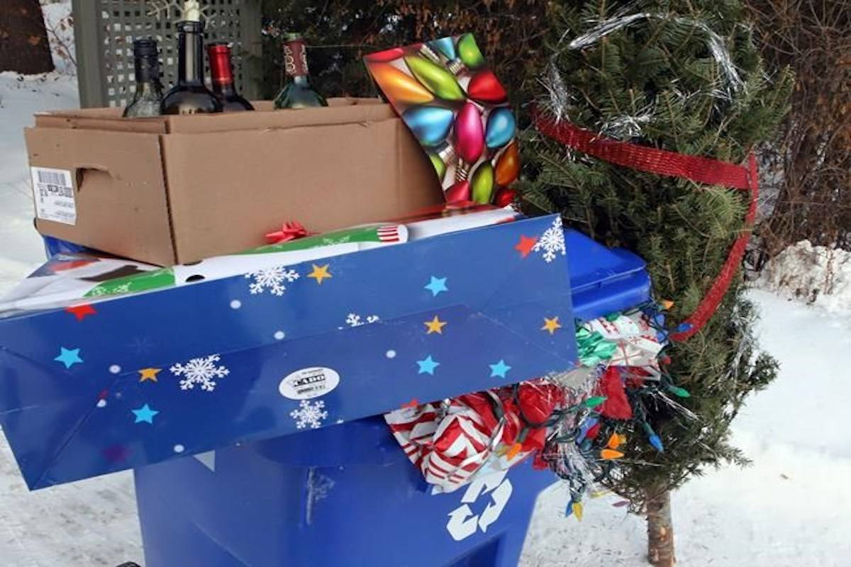Wrapping paper, tape, gift bags trashed not recycled