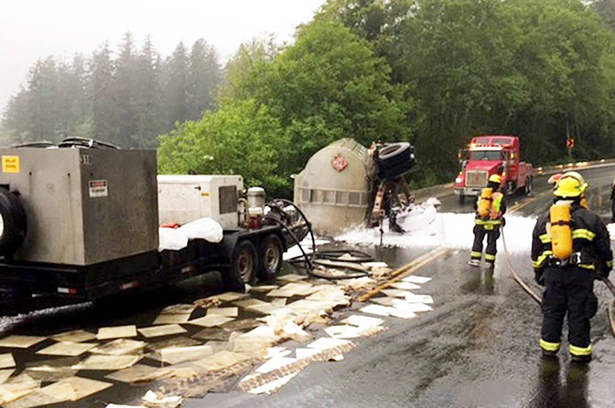 The Ucluelet Volunteer Fire Brigade responded to a flipped fuel truck on Highway 4 near Kennedy Lake in June, 2017. (Photo-Ucluelet Volunteer Fire Brigade)