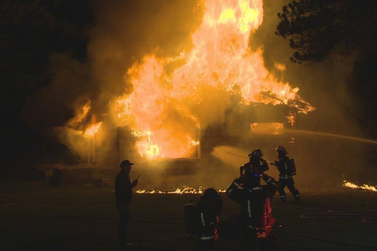 More than 20 firefighters battled a blaze early Friday morning in Comox. Photo by CTV Vancouver Island