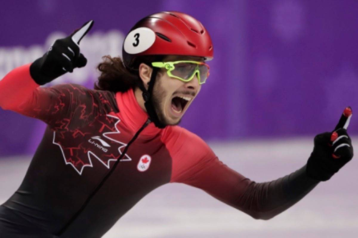 Olympic rookie Samuel Girard wins gold for Canada in the men's 1000m short track speed skate on Day 8 of the 2018 Pyeongchang Olympics. (Team Canada)