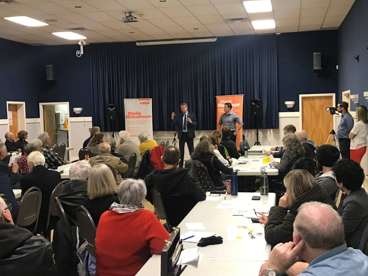 Residents from Nanaimo to Langford gathered at Eagles Hall in Ladysmith on Tuesday to hear about NDP MP Scott Duvall's private members bill. Here, Duvall answers questions from the crowd along with Cowichan-Malahat-Langford MP Alistair MacGregor.