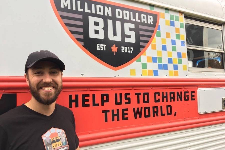 Ryan Lancaster is his Million Dollar Bus project. Image contributed.