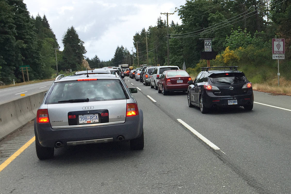 Traffic is backed up on the Malahat due to a vehicle incident. (Kevin Rothbauer/Black Press)