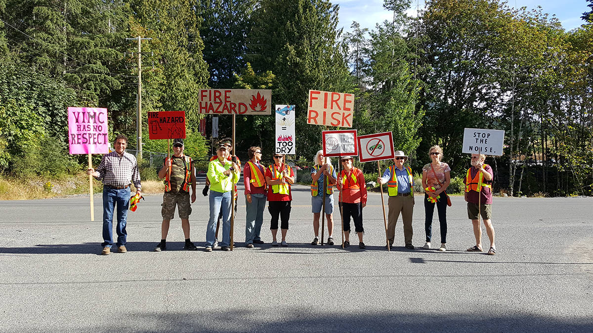 Neighbours of the Vancouver Island Motorsport Circuit arrived at its gates early on the morning of Aug. 11 to protest against excessive noise from the track. (Submitted photo)