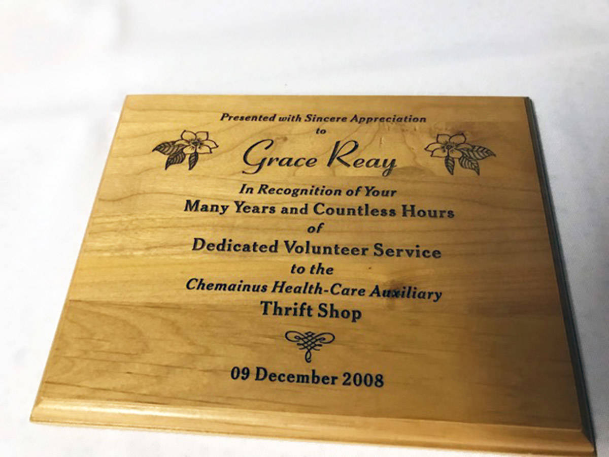 Grace Reay dedicated many long years of service to the Chemainus Health Care Auxiliary. (Photo submitted)