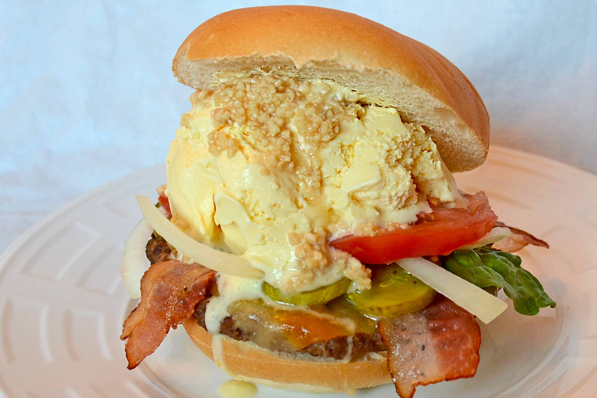 The Garlic Vanilla Milkshake Burger is one of two specialty ice cream burgers being offered by Langley's Brian Jones at the Fair at the PNE this year. Submitted photo