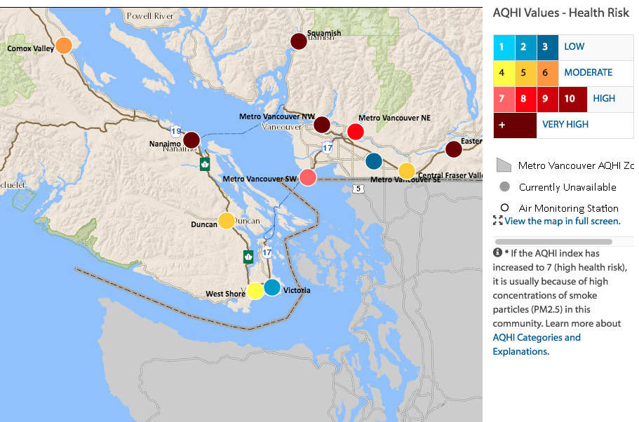 The air quality map for the south Island and lower mainland as of 6 a.m. Monday