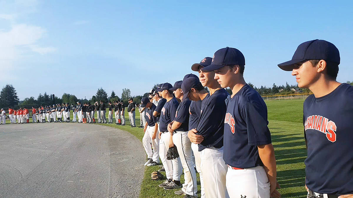 Stuart Channel Canadians Bantam A baseball players at the opening ceremony for the provincials in Nanaimo. (Photo submitted)
