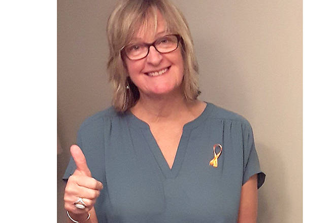 Judy McPherson, from Penticton, is starting to see her orange ribbon campaign to allow people to show their support for those fighting wildfires start to grow.                                Submitted photo