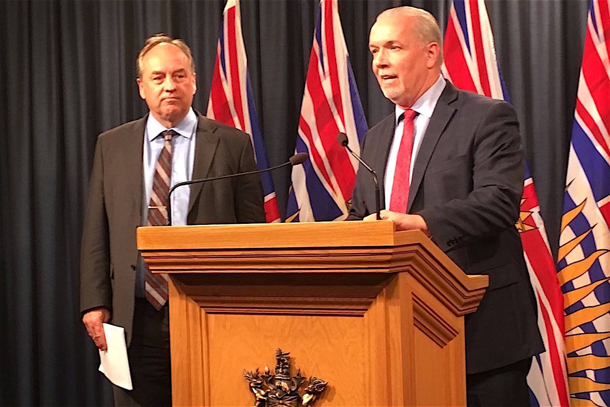 B.C. Green Party leader Andrew Weaver and Premier John Horgan are seen in this Black Press file image from Sept. 18, 2017. (Tom Fletcher/Black Press)