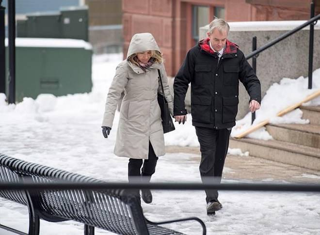 Dennis Oland and his wife Lisa arrive at the Law Courts in Saint John, N.B. on Tuesday, Nov. 20, 2018. THE CANADIAN PRESS/Andrew Vaughan