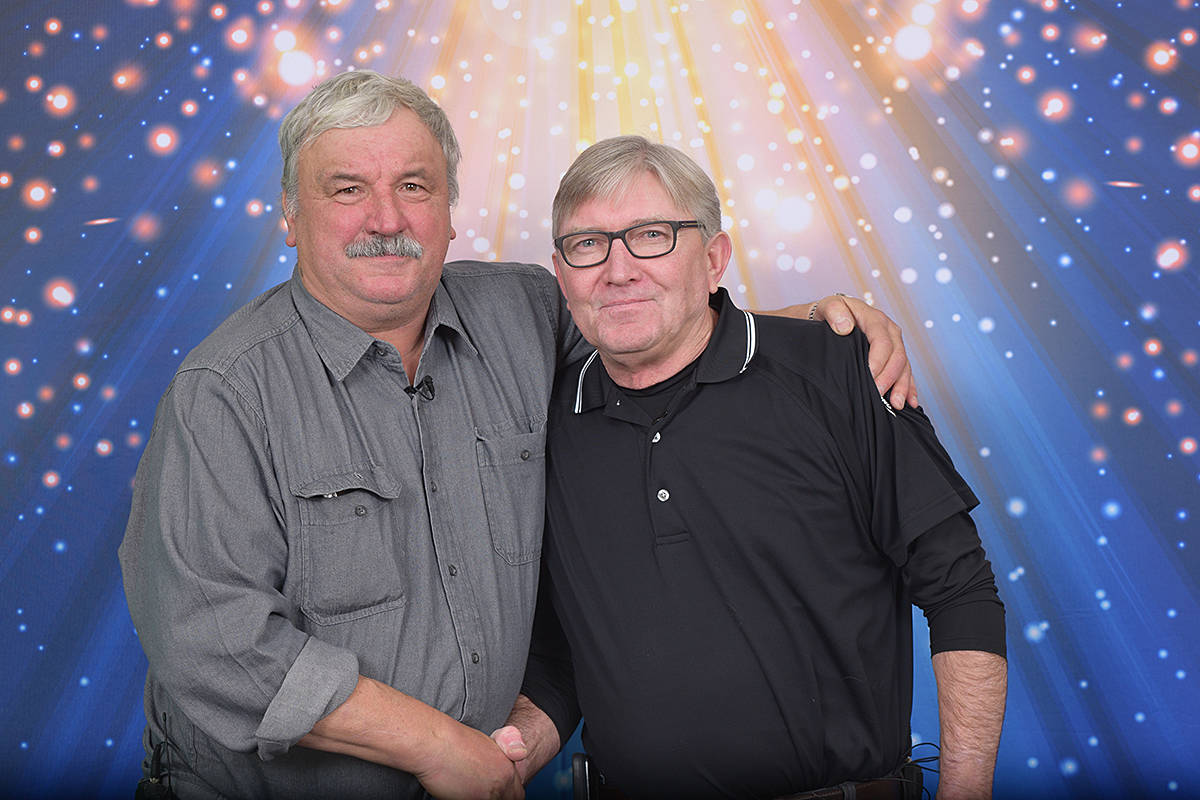 John Prpich of Port Alberni, left, and his friend David Dubbin of Nanaimo are celebrating after splitting nearly $20 million after winning a 6/49 lottery draw in November. SUBMITTED PHOTO