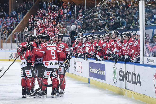 Team Canada celebrating one of their six goals scored against Nurnberg Ice Tigers at the Spengler Cup on Dec. 28. Photo couresty of @HC_Men/Twitter