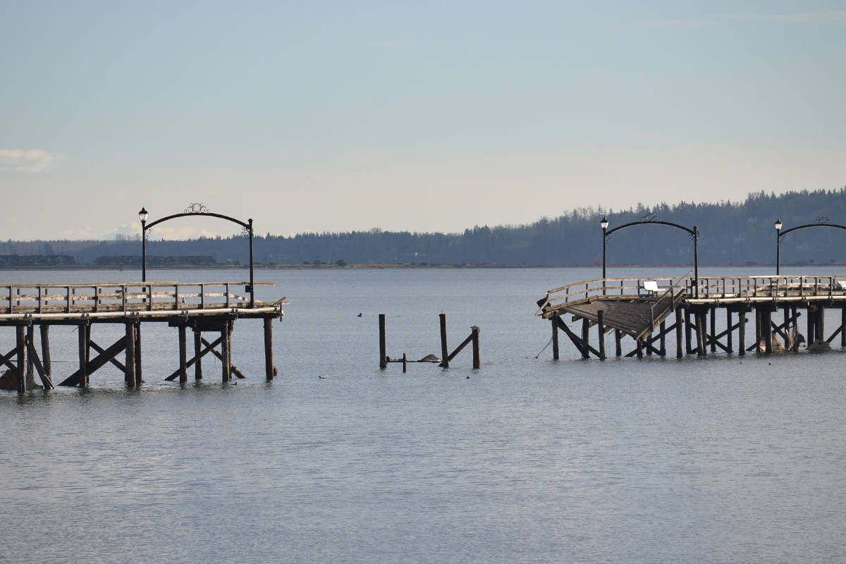 A production company wants to bring in a daredevil to jump the gap in White Rock's broken pier. (Aaron Hinks photo)