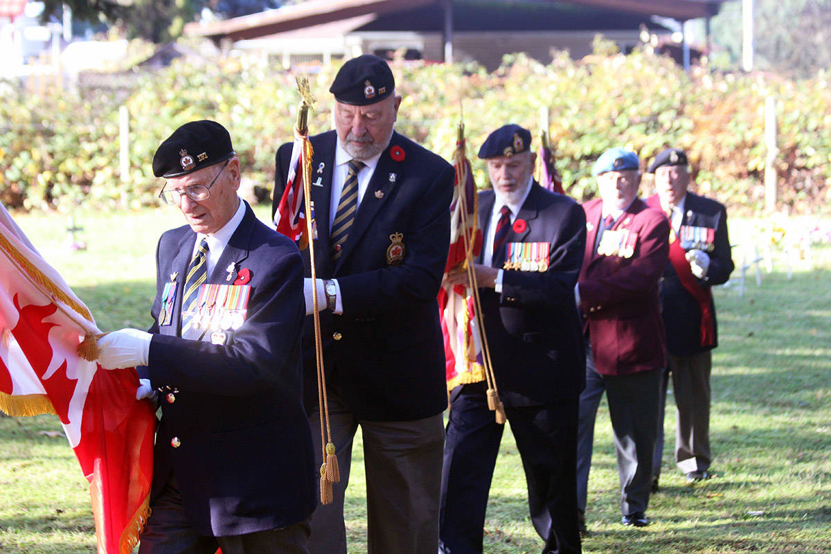Ray Bullock, third from left, as part of the colour party during Chemainus cemetery service in November. (Photo by Don Bodger)