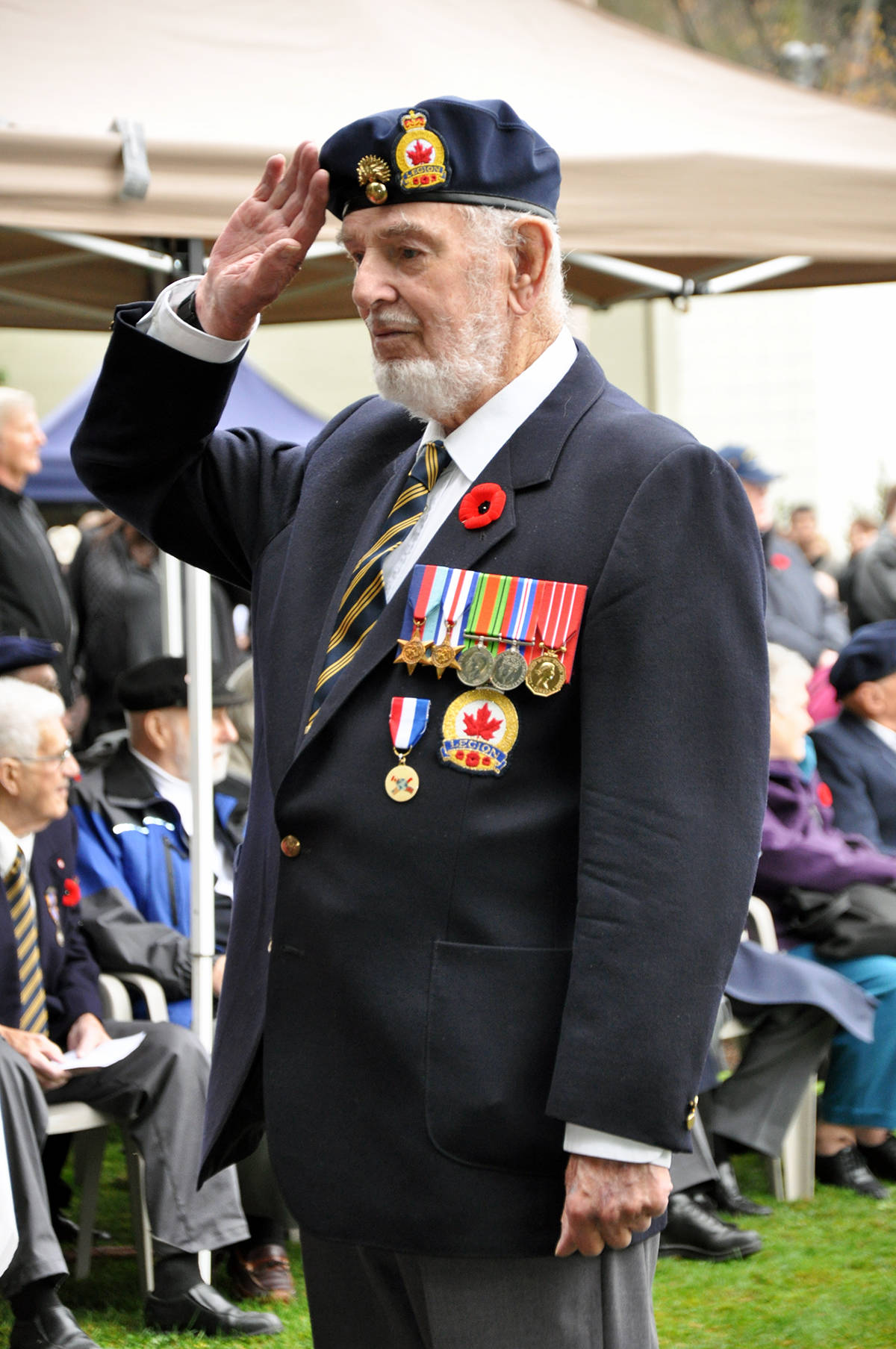 Ray Bullock salutes at Remembrance Day ceremonies in Chemainus.  (Photo by Warren Goulding)