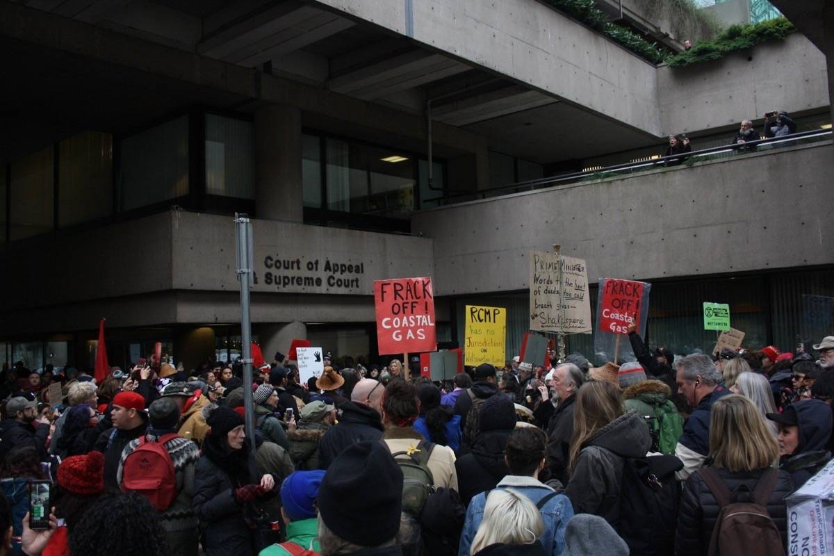 Hundreds took to Vancouver's streets to protest the LNG pipeline in northern B.C. (Katya Slepian/Black Press Media)