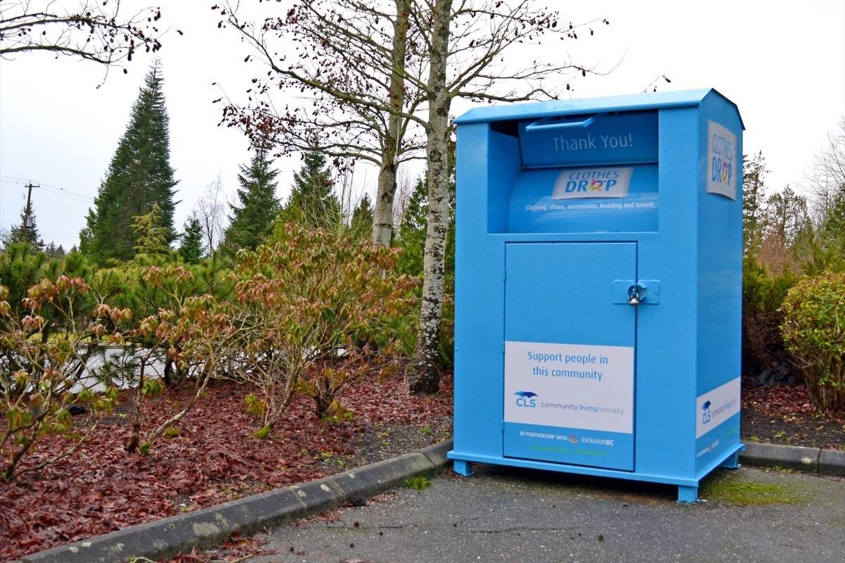 Clothing-donation bins like this one in the 17000-block of 16 Avenue are to be removed, Inclusion BC announced Thursday. (Tracy Holmes photo)