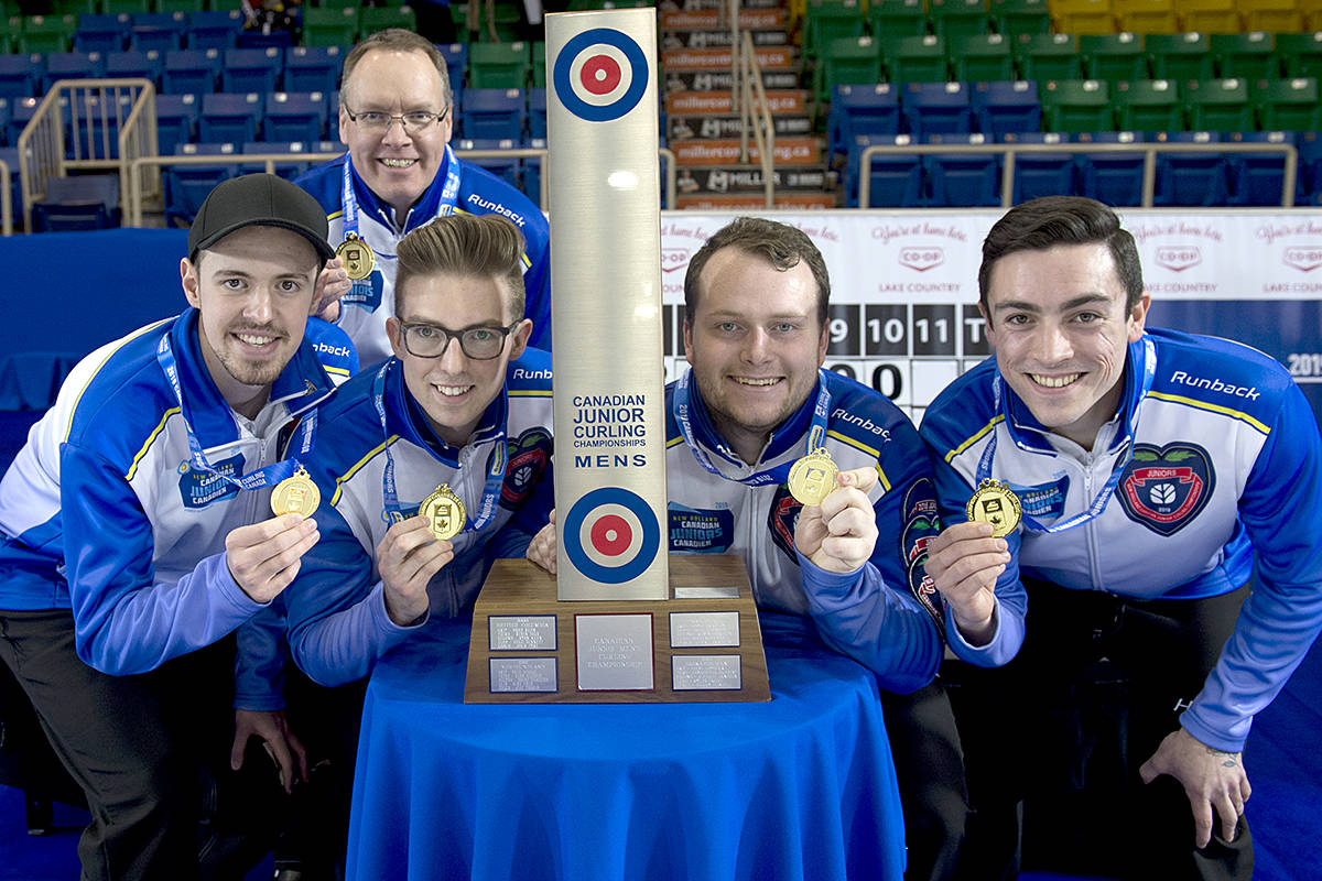 At the New Holland Canadian Junior Curling Championships today (Sunday), Team BC – with Skip Tyler Tardi, third Sterling Middleton, second Matthew Hall, lead Alex Horvath, and coach Paul Tardi – earned the gold. It's the third national triumph for Tardi and Middleton. (Michael Burns/Curling Canada)