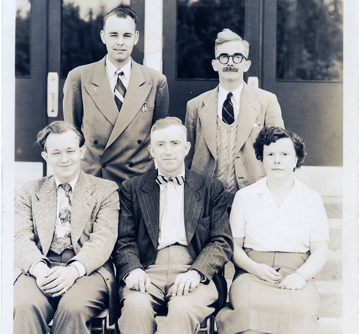 Dave Alexander, back row, left, was part of the founding staff of Chemainus Jr. High School in 1951-52. Beside him is Cedric Lonsdale. Front row, from left: Alan Child, Vice Principal John Rukin and Principal Nancy Thomas. (Photo submitted)