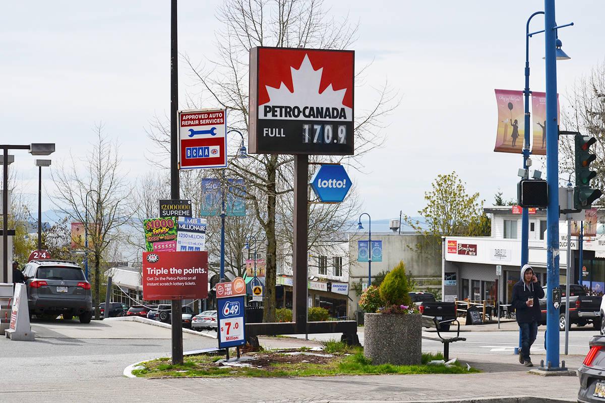 Gas prices in White Rock reached $1.709 a litre Sunday. (Aaron Hinks photo)