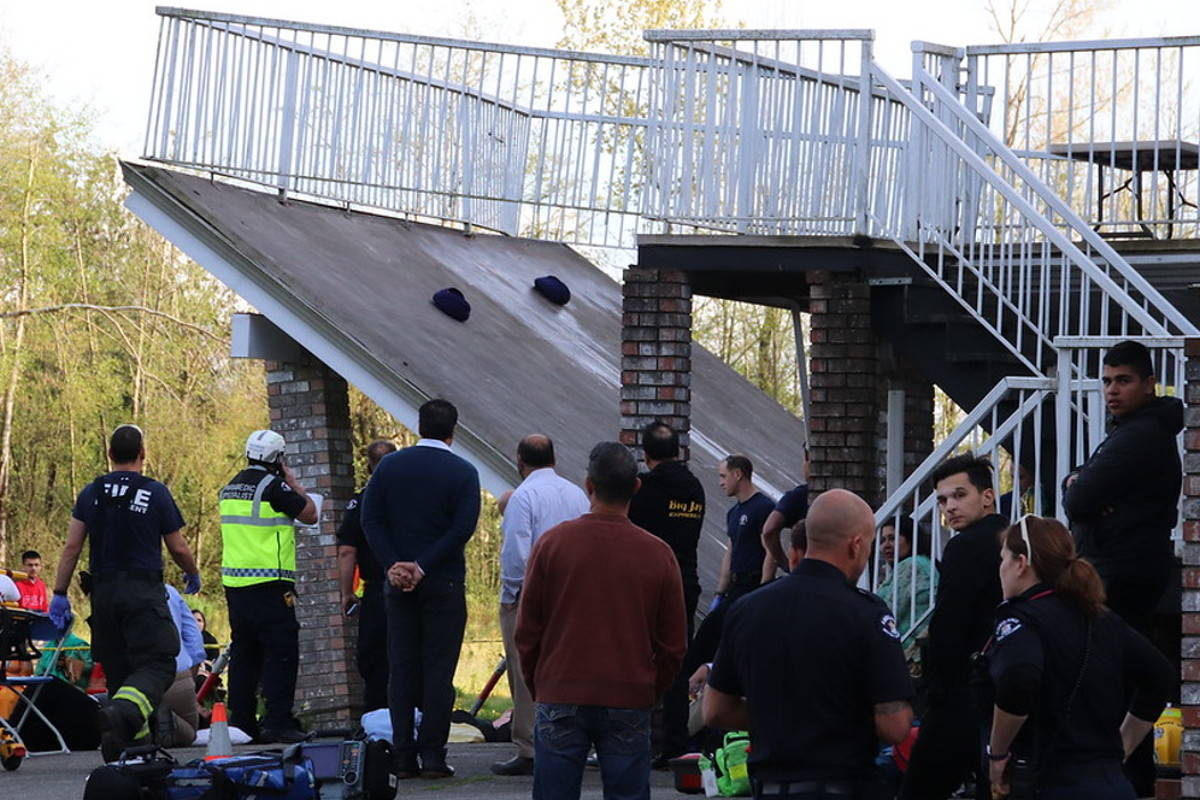 Deck collapses in Langley during celebration, 35 people injured