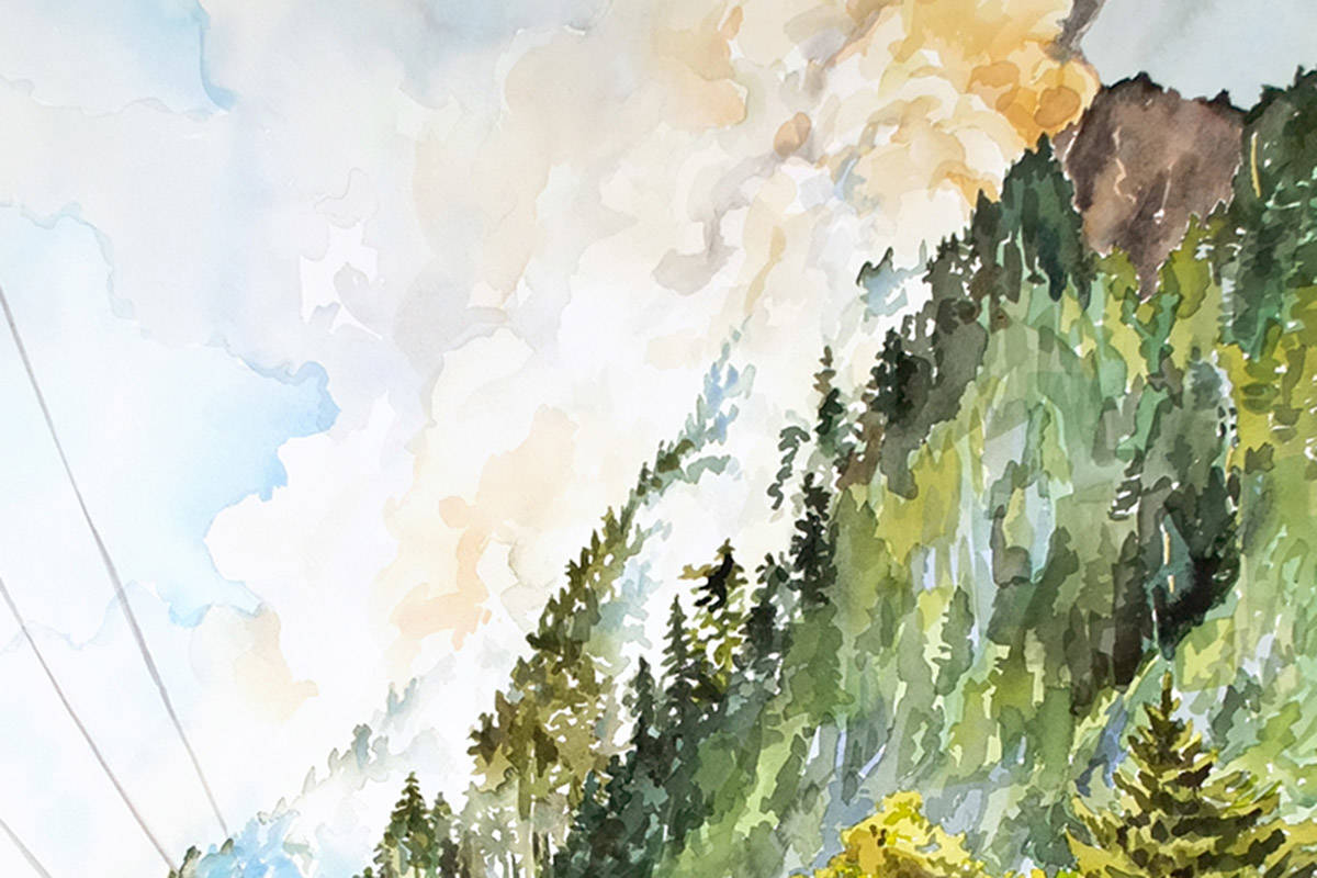 The latest work by artist Liz Toohey-Wiese is based on a photo of the bluffs of Zeballos as wildfires began last August. Image of painting courtesy Liz Toohey-Wiese