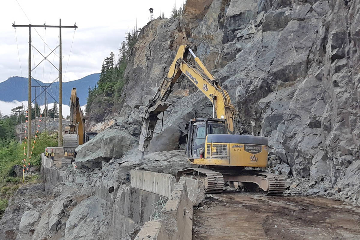 Highway 4 was shut down on Monday as crews worked to remove rock debris from the only road in and out of Tofino-Ucluelet. (Photo - Ministry of Transportation and Infrastructure)