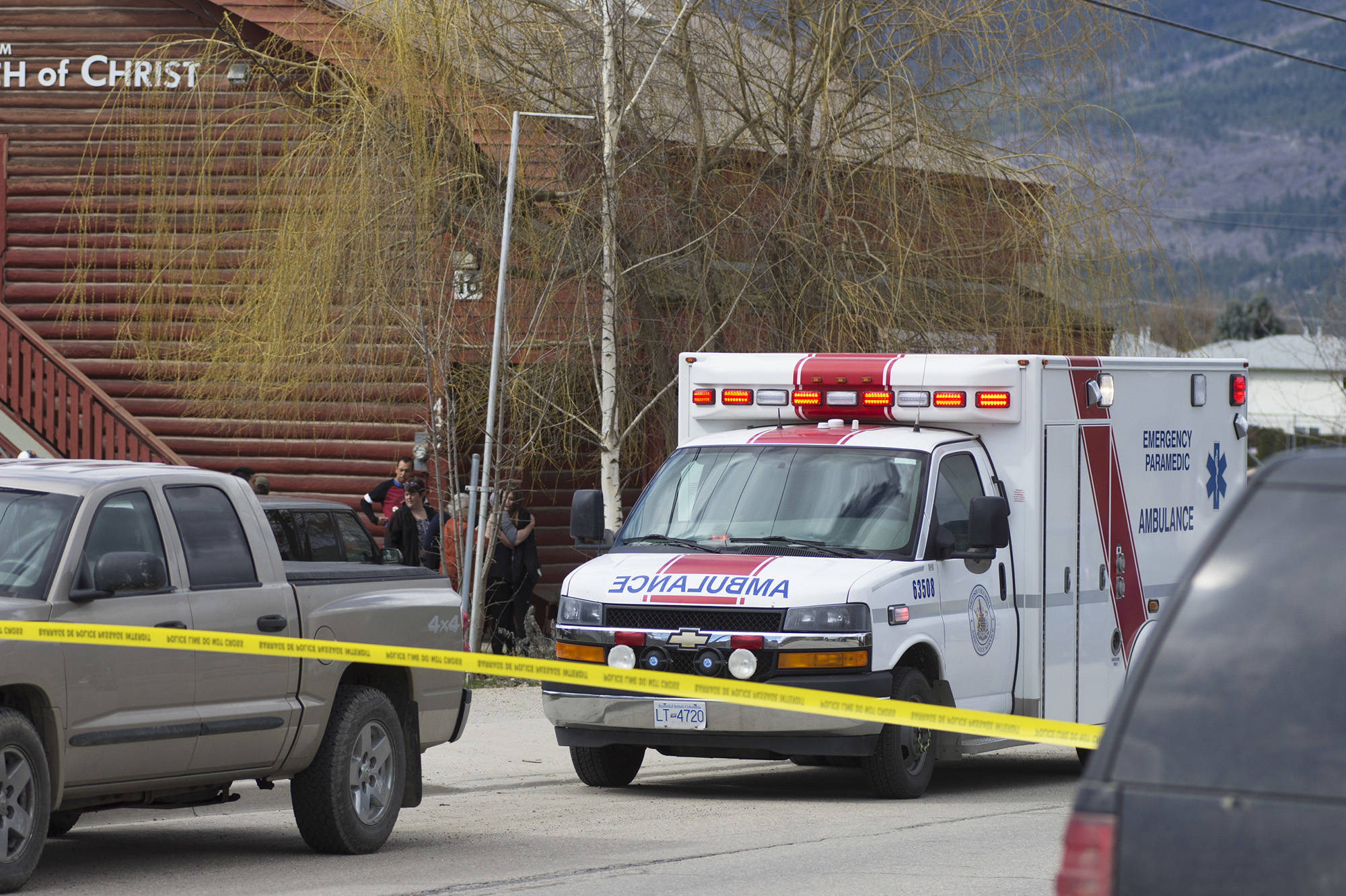 Emergency Health Services paramedics respond to the Sunday, April 14 shooting at the Salmon Arm Church of Christ. (File photo)