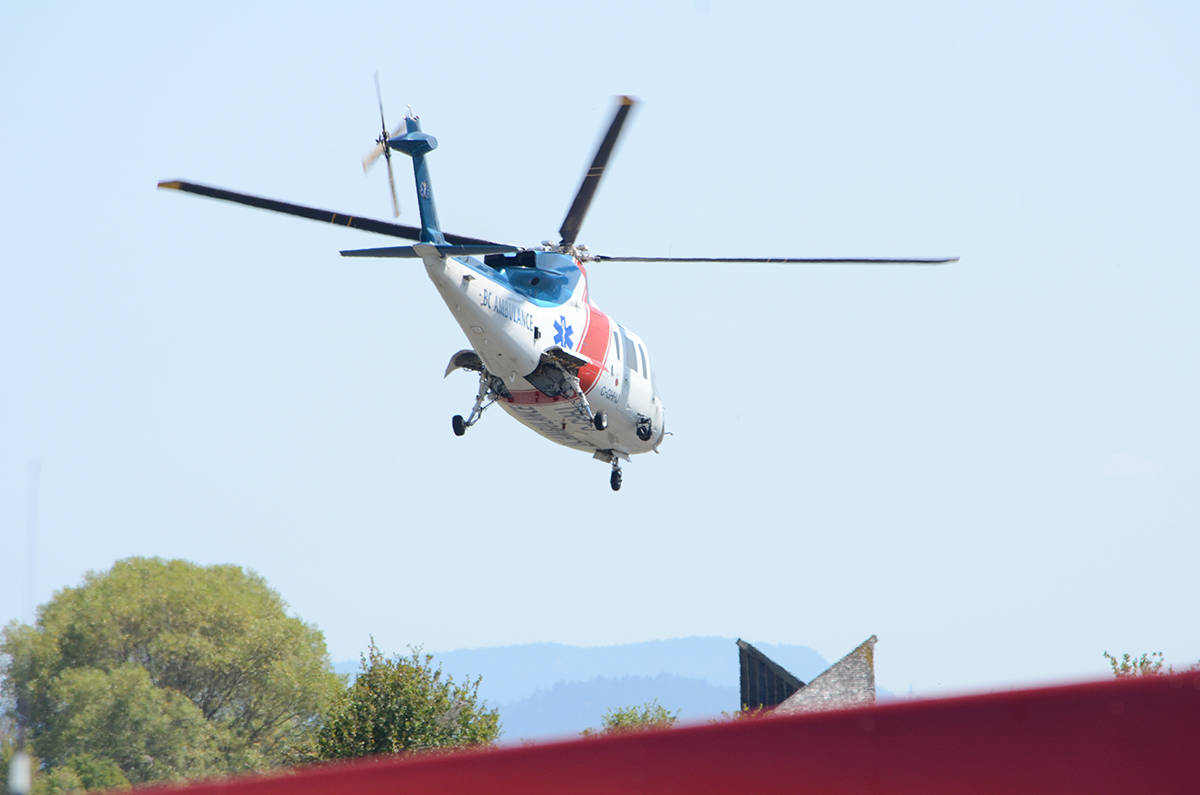 The patient was flown out by Helijet shortly after 2 p.m. on Monday. Photo by Mike Chouinard
