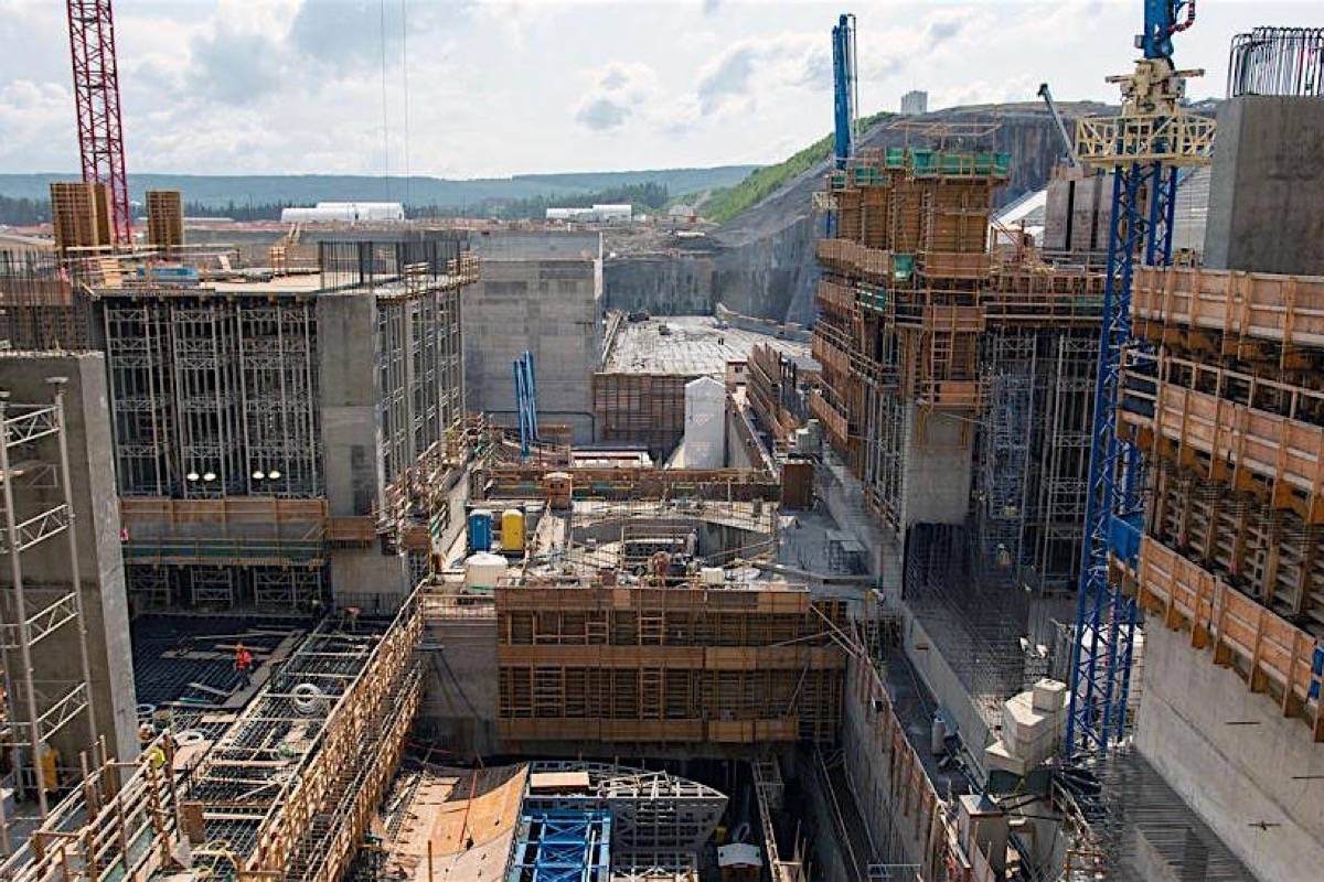 Powerhouse construction at Site C dam on the Peace River, spring 2019. The project's $10 billion price tag has pushed up B.C. Hydro debt. (B.C. Hydro)