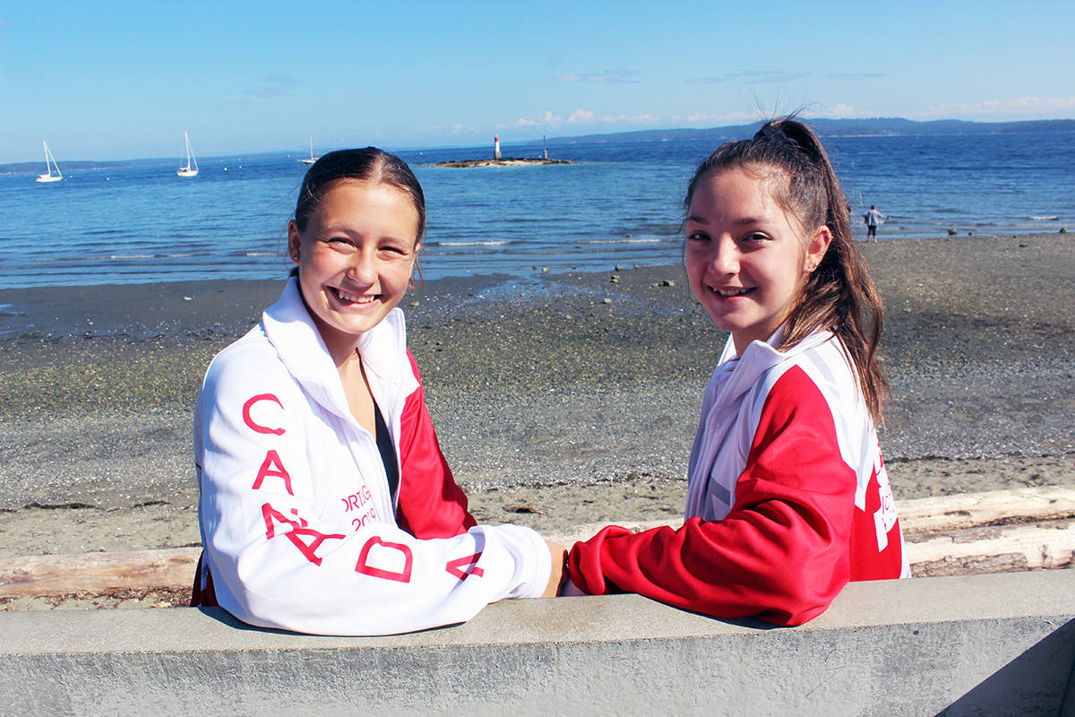 Mara Morris, left, of Maple Bay and Chemainus' Brittany Millard at Kin Beach after reflecting on their hectic and memorable summer in the dance spotlight. (Photo by Don Bodger)