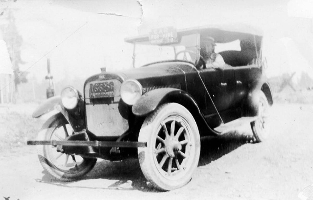 HISTORICAL MOMENT                                First taxi (Jitney service) with Albert Campbell behind the wheel, circa 1920. Many more great historical photos are on display at the Chemainus Valley Museum, 9799 Waterwheel Cres. It's currently open seven days a week from 9 a.m. to 4 p.m. (Photo submitted)