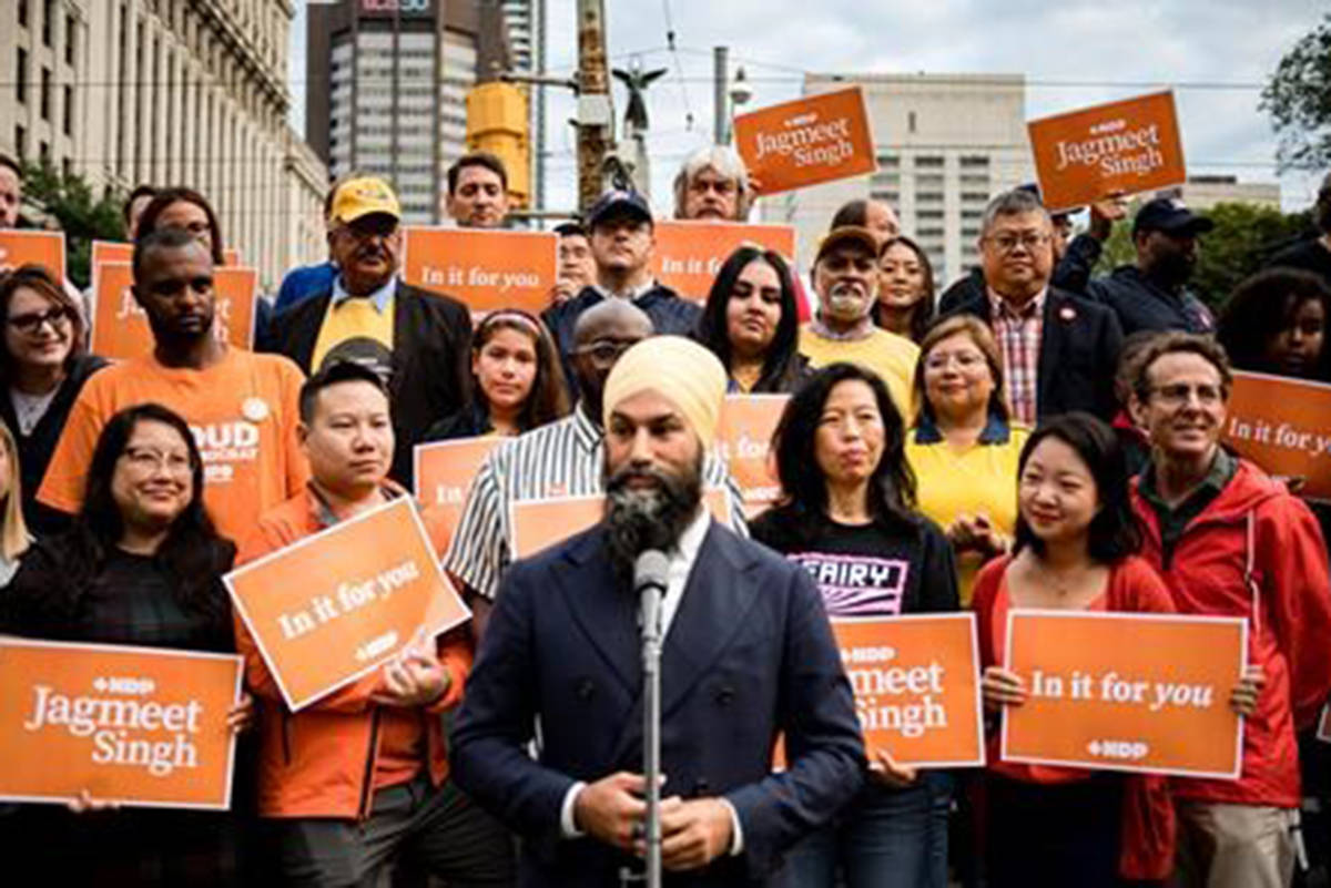 NDP Leader Jagmeet Singh makes an announcement in Toronto on Monday, September 2, 2019. (Christopher Katsarov/The Canadian Press)