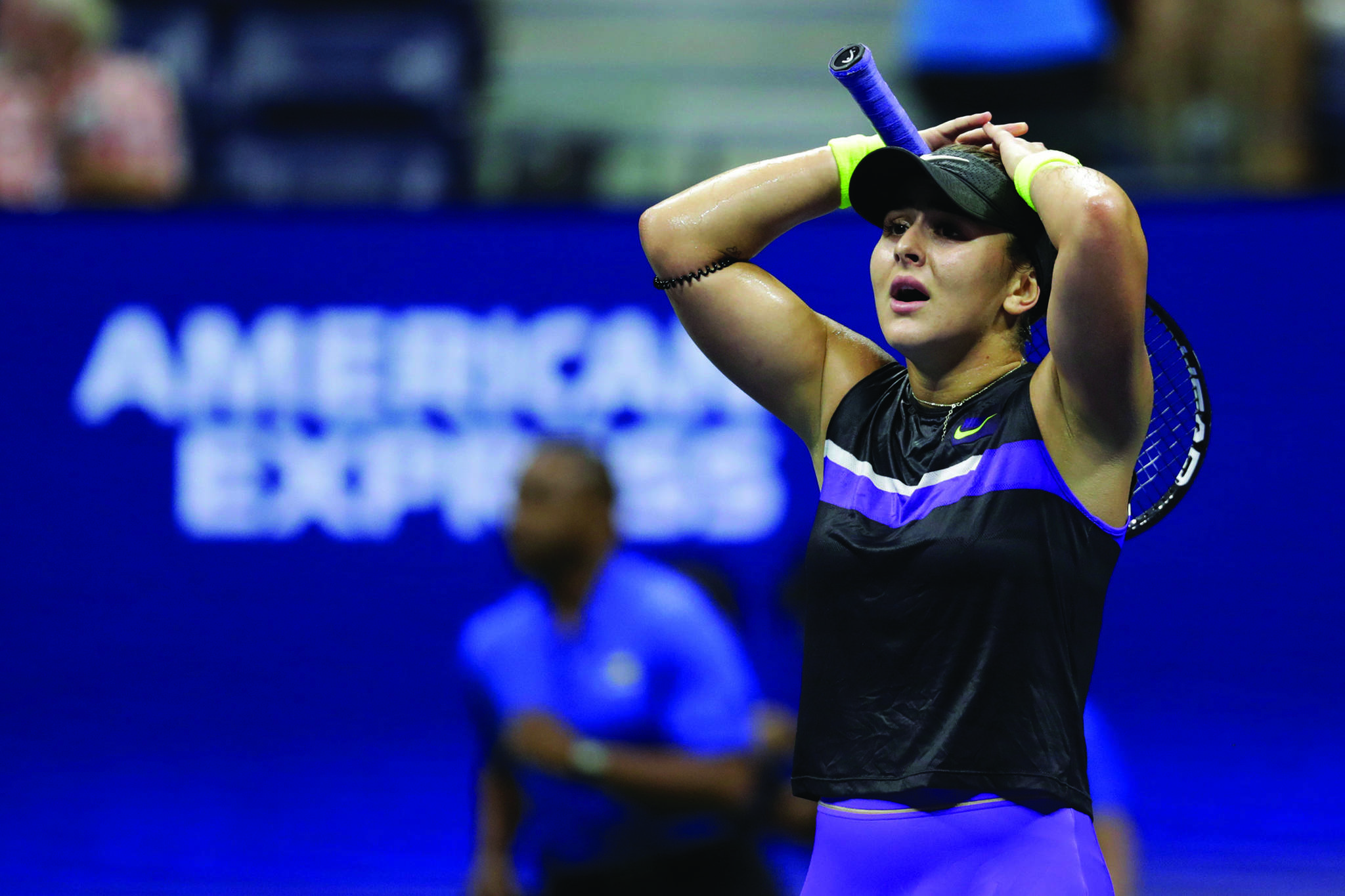 Bianca Andreescu, of Canada, reacts after defeating Belinda Bencic, of Switzerland, during the semifinals of the U.S. Open tennis championships Thursday, Sept. 5, 2019, in New York. (AP Photo/Adam Hunger)