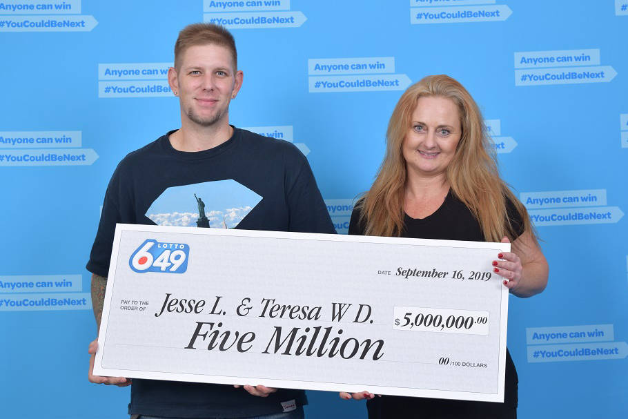 """Jesse Logan and Teresa Winters Day said in a press release that they were """"ecstatic"""" when they realized that they matched all six numbers in the Aug. 21 Lotto 6/49 draw. (Photo submitted)"""