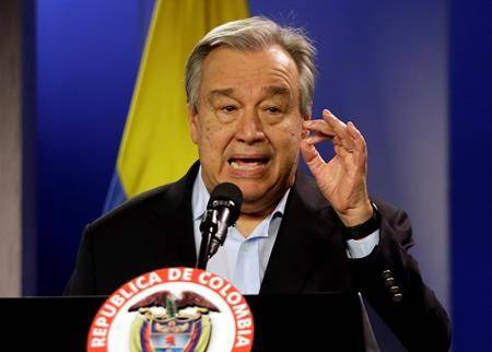 FILE - Jan. 13, 2018 file photo, U.N. Secretary-General Antonio Guterres talks to the media during a join declaration with the Colombian president, in Bogota, Colombia. (AP Photo/Fernando Vergara, File)