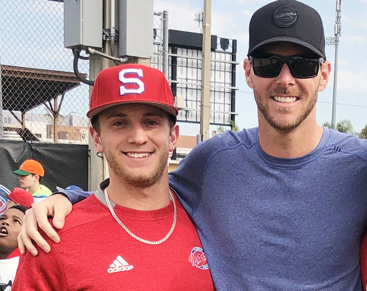 Chemainus' Zach Diewert with Boston Red Sox pitching star Chris Sale. The Red Sox are Diewert's favourite Major League team. (Photo submitted)
