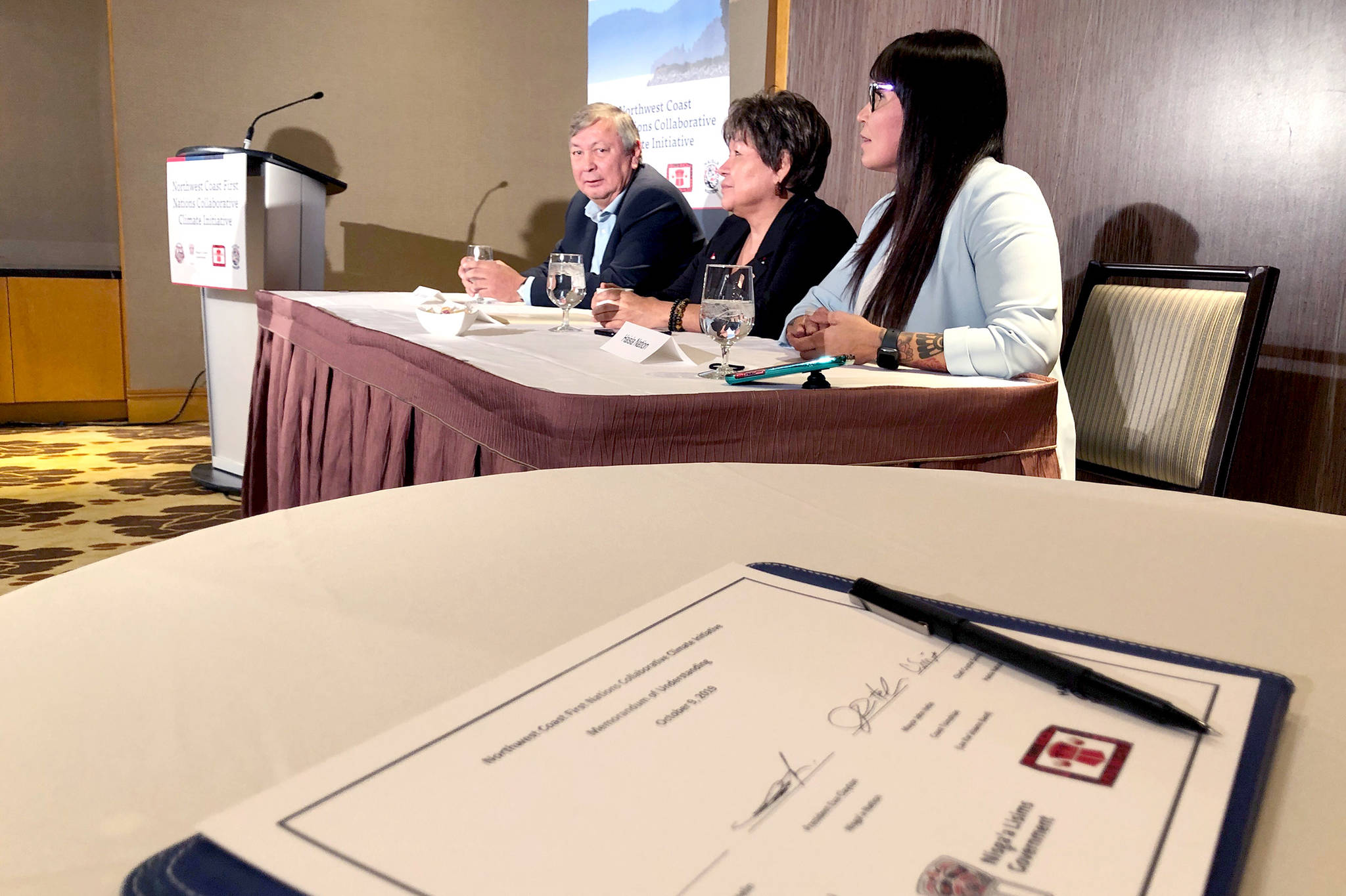 Metlakatla, Lax Kw'alaams, Nisga'a and Haisla commit to fight climate change internationally as the four nations sign an MOU while attending the World Indigenous Business Forum in Vancouver. (Ashley Wadhwani/Black Press Media)