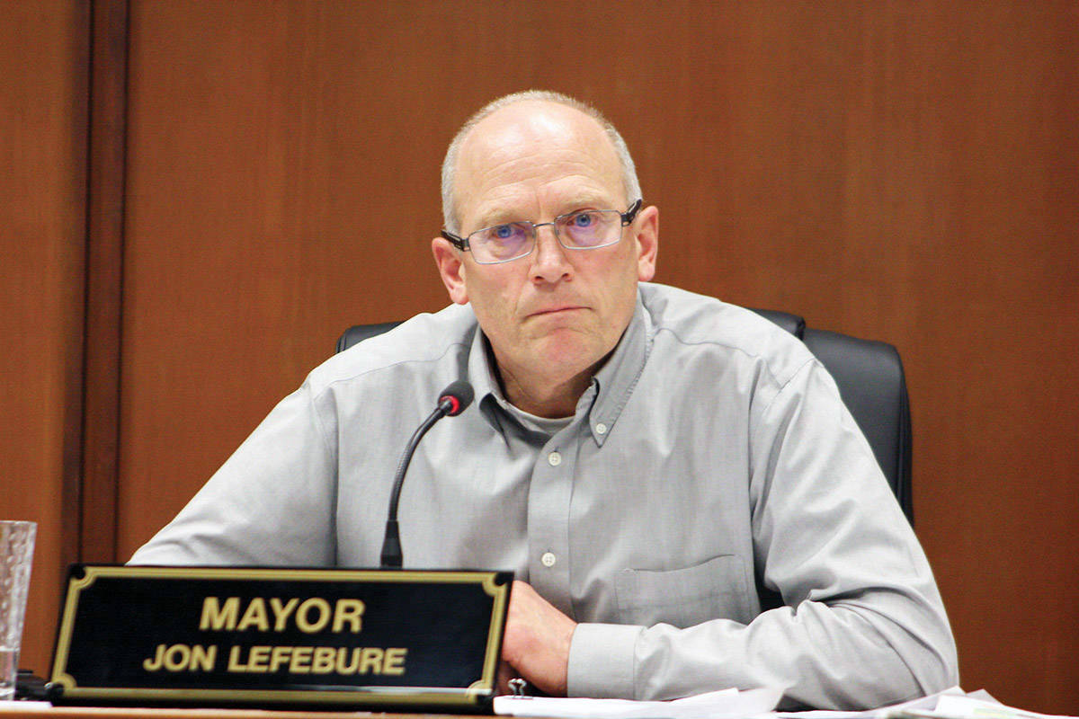Jon Lefebure during his former days in the North Cowichan Mayor's chair. (File photo)