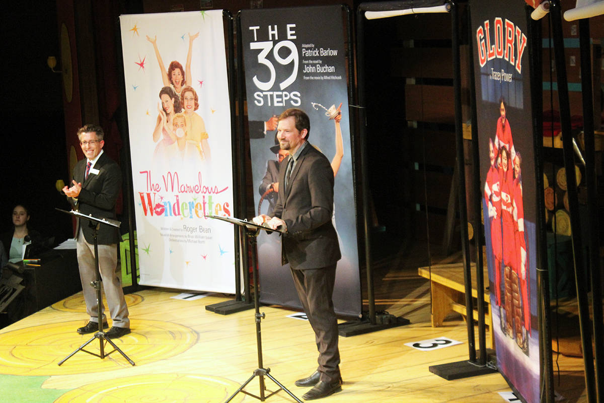 Chemainus Theatre Festival's managing director Randy Huber and artistic director Mark DuMez announce the opening shows for the 2020 season. (Photo by Don Bodger)