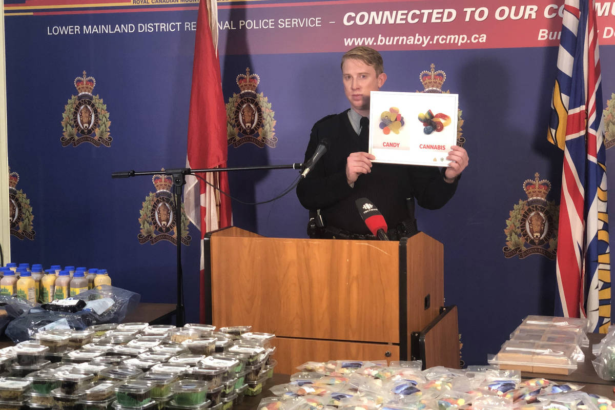 RCMP in Burnaby are warning the public to keep cannabis-infused edibles out of reach of children, and properly labelled, after large seizure of illegal treats that looked like regular food. (Burnaby RCMP handout)