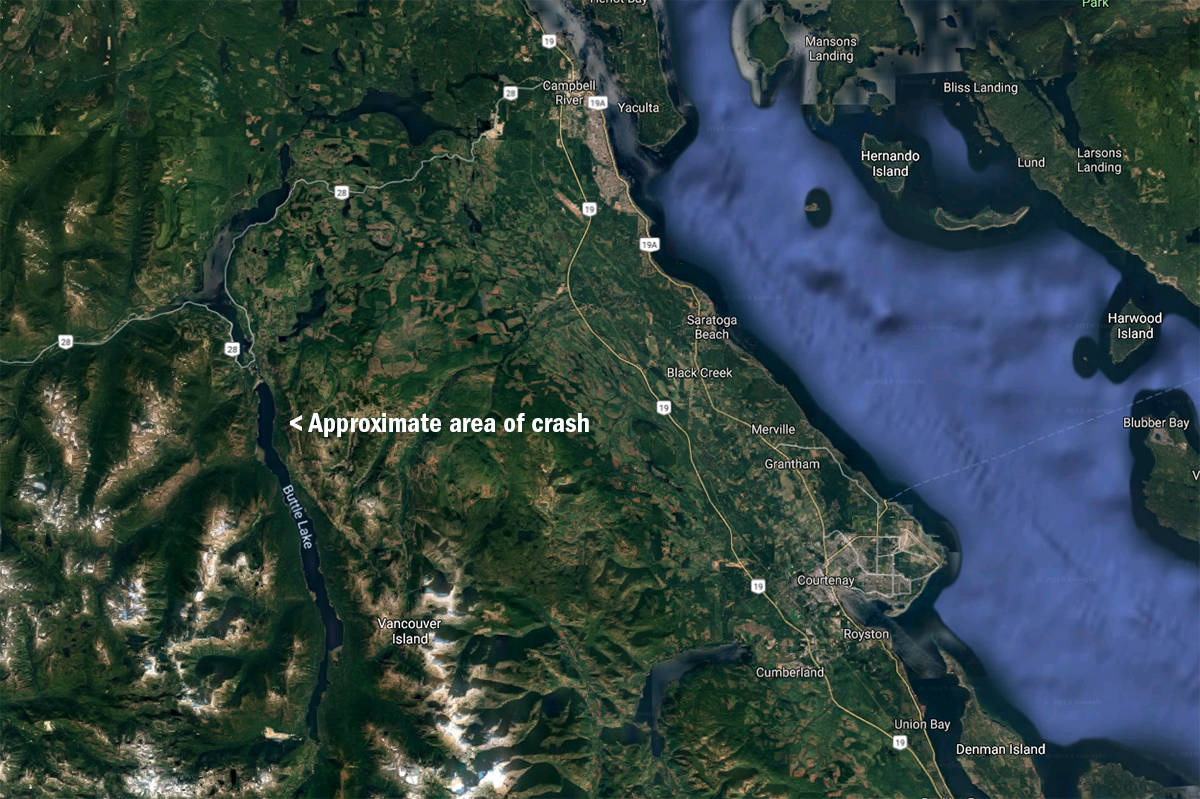 Truck is reported to have crashed into Buttle Lake near Lupin Falls. Google map