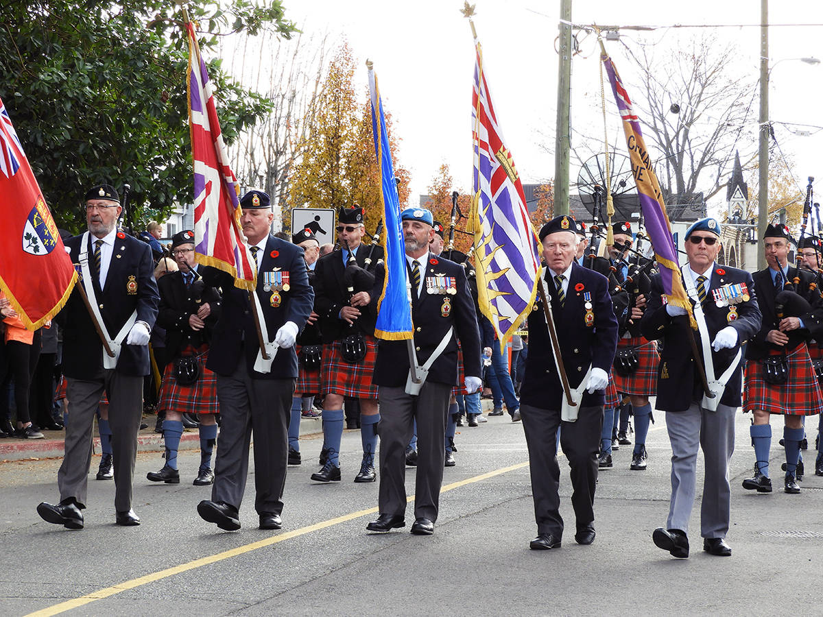 Chemainus Legion 191 colour party starts the march into the cenotaph. (Photo by Kathy Holmes)