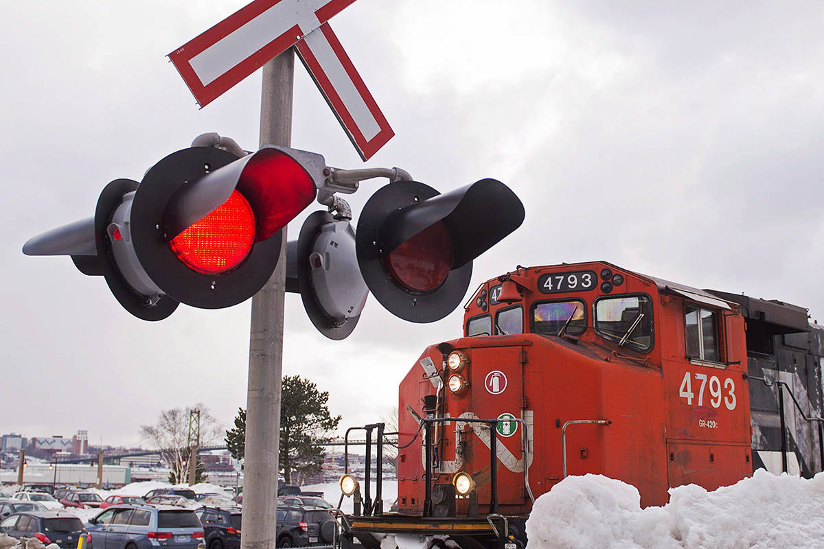A CN locomotive moves in the railway yard in Dartmouth, N.S. on Monday, Feb. 23, 2015. THE CANADIAN PRESS/Andrew Vaughan