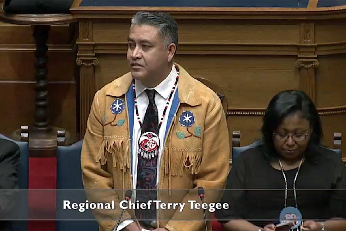 Terry Teegee, B.C. regional chief of the Assembly of First Nations, and Cheryl Casimer of the B.C. First Nations Summit, speak on the bill to endorse UN Indigenous rights, B.C. legislature, Oct. 24, 2019. (Hansard TV)