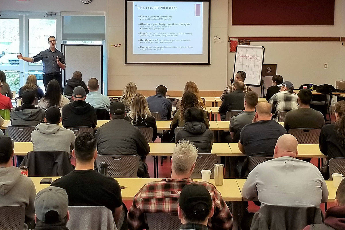 Tim Black instructs police, firefighters and first responders in trauma resilience on Monday, December 9, 2019. (Courtesy Saanich Police)                                Tim Black instructs police, firefighters and first responders in trauma resilience on Monday. (Saanich Police)